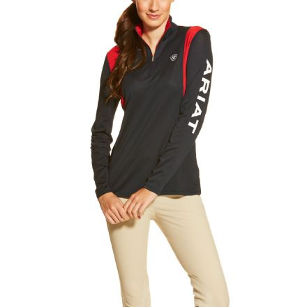 Ariat Ladies Sunstopper Top 1/4 Zip - Team & White